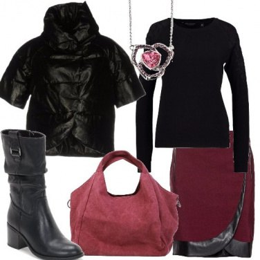 Outfit Nero e bordeaux