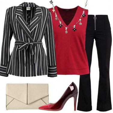Outfit Blazer a righe