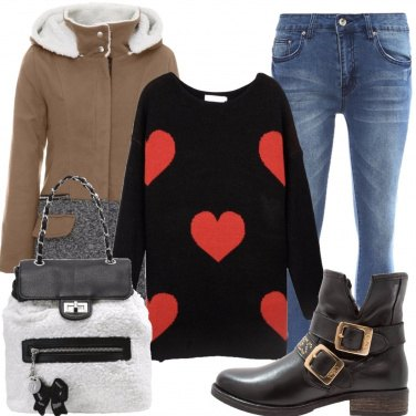 Outfit Il maglione con i cuori