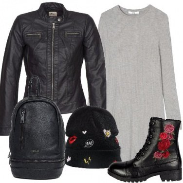 Outfit Giubbino nero in similpelle