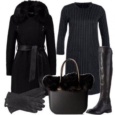 Outfit In nero e pelliccia