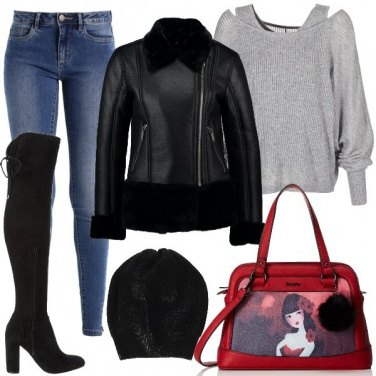 Outfit Jeans e stivali alti