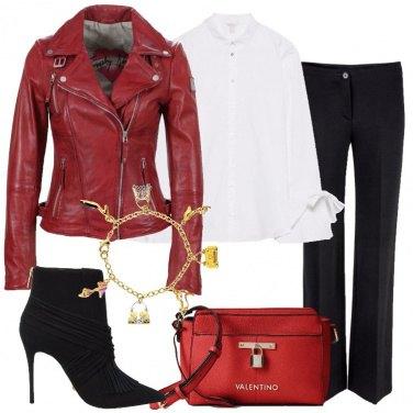 Outfit Il biker in pelle rossa
