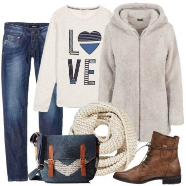 Outfit Jeans e giacca in peluche