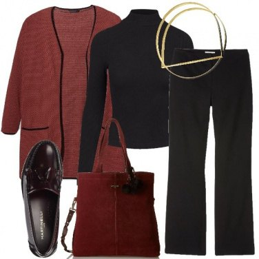 Outfit Il cardigan color marsala