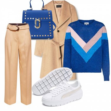 giacca blu con pantalone beige outfit donna