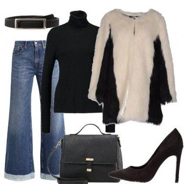Outfit La pelliccia ecologica bianca