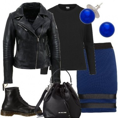 Outfit Gonna a tubino blu