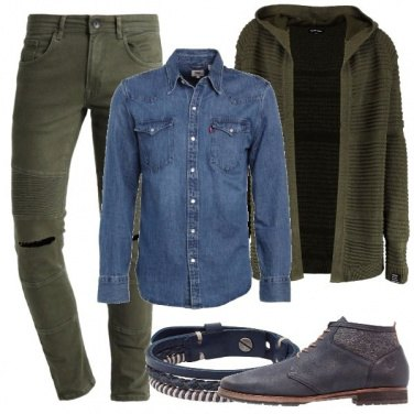 Outfit Camicia in jeans e cardigan