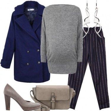 Outfit Blu grigio e tortora