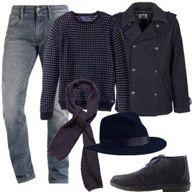Outfit Col borsalino blu