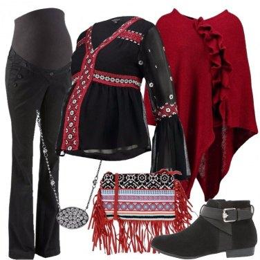 Outfit In nero e rosso