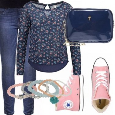 Outfit Leggings in denim and floral