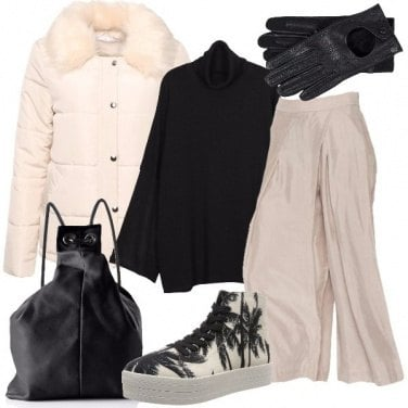 Outfit Beige e nero si alternano