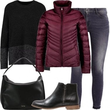 Outfit Il piumino burgundy