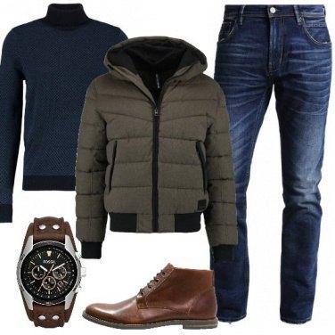 Outfit Blu e marrone