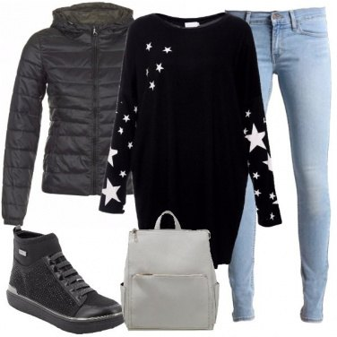 Outfit Maxi felpa con le stelle