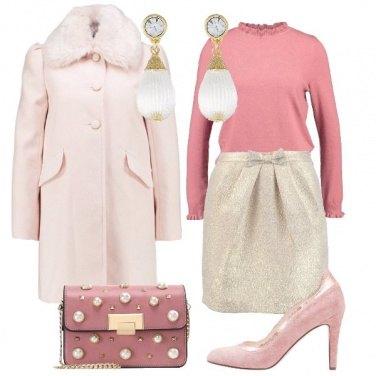 Outfit Bon Ton rosa e oro