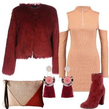 Outfit La pelliccia bordeaux