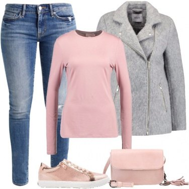 Outfit Rosa e grigio