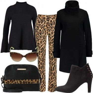 Outfit Nero e animalier