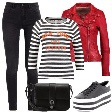 Outfit Giacca di pelle rossa