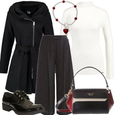 Outfit Rosso bianco e pois