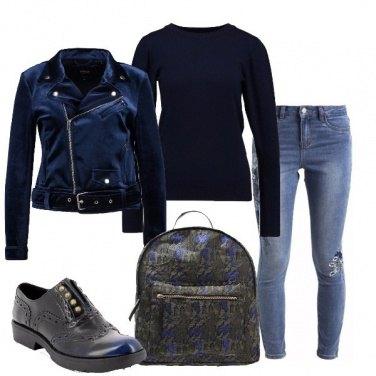 Outfit Biker in velluto blu