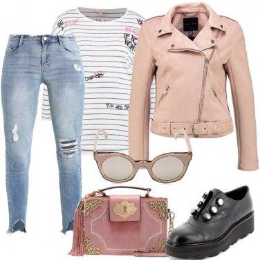 Outfit Biker rosa