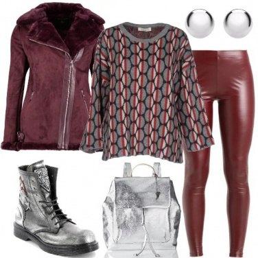 Outfit Il biker color vino