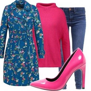 Outfit Leggings jeans e fiori