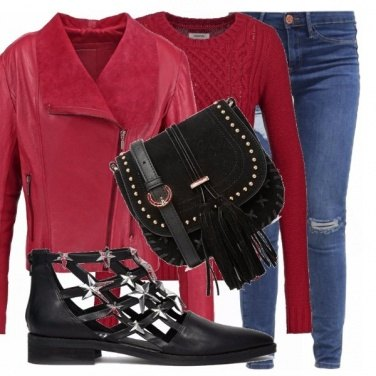 Outfit Jeggings e rosso