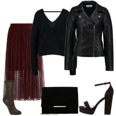 Outfit La gonna di tulle bordeaux
