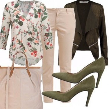 Outfit Tacco, fiori e shopping bag