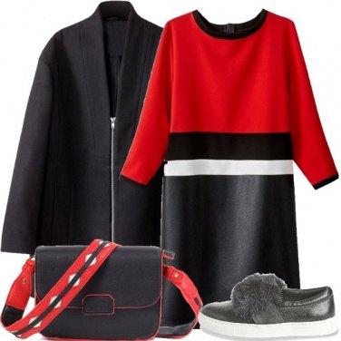 Outfit Rosso nero e bianco
