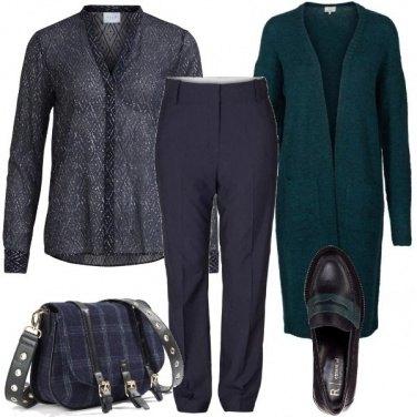 Outfit Cardigan e mocassini bicolore