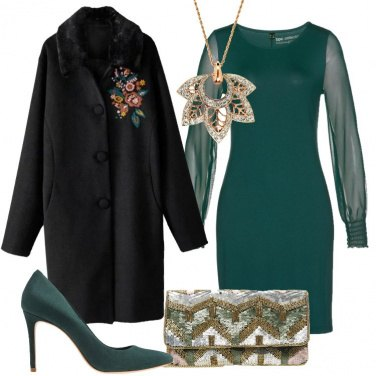 Outfit Chic in verde e nero