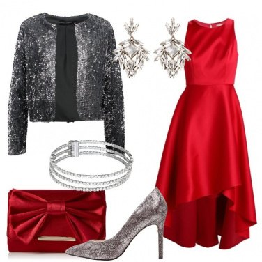 Outfit Rosso e silver
