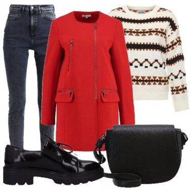Outfit Pullover con motivo geometrico
