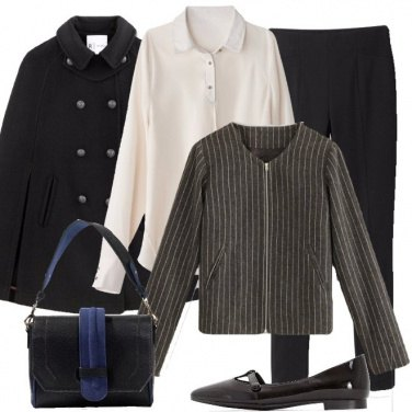 Outfit Il blazer corto sulla camicia lunga
