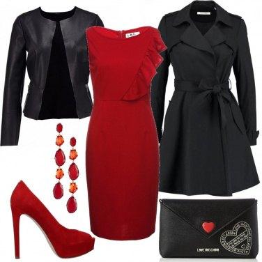 2bdcb0c45148 In rosso e nero  outfit donna Chic per serata fuori