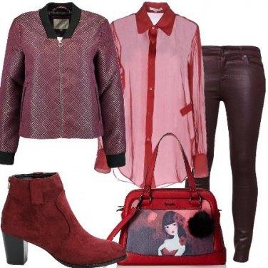 Outfit Camicia rossa di sera
