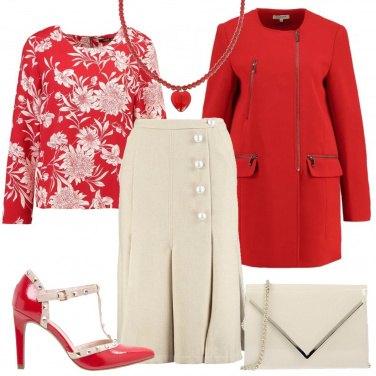 Outfit Rosso e crema