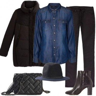 Outfit Il cappello blu e nero