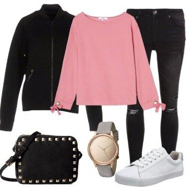Outfit La felpa rosa