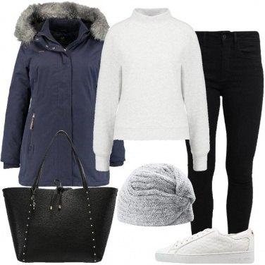 Outfit Blu grigio e nero