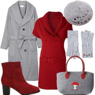 Outfit Grigio e rosso