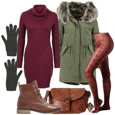 Outfit Parka e vestito in lana