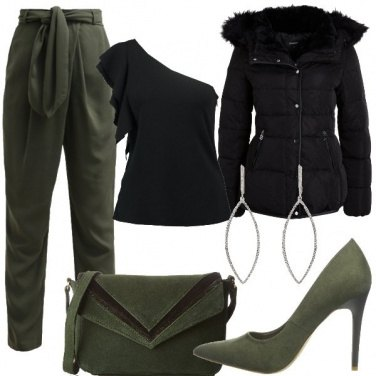 Outfit Verde militare chic