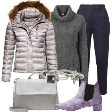 Outfit Il mio piumino color argento